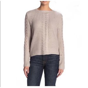 Sweaters - John & Jenn Cable Knit Lace-Up Sweater NWT MIST